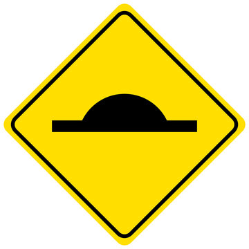 Speed bump traffic sign isolated on white background