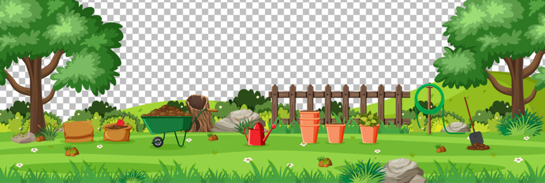 Blank nature garden with garden tools scene landscape on transparent background