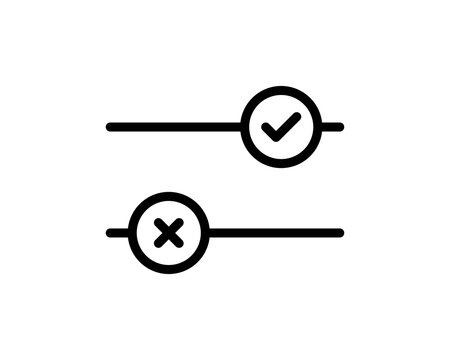 Toggle button switch off or turn on slider with tick hook and cross signs