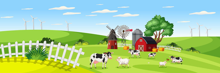 Farm landscape with animal farm in field and red barn in summer season