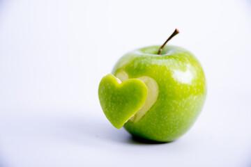 Heart shape cut in apple