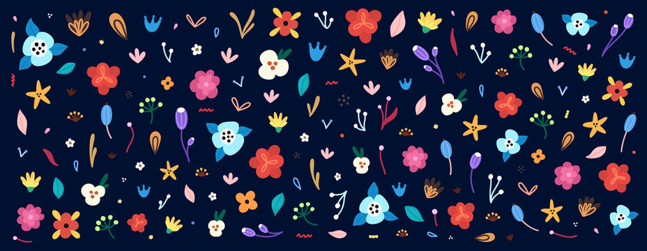 Large set of flowers and floral elements. Colorful clipart for decorating greeting cards, covers, invitations and more, as well as for creating print for fabrics, wrapping papers, wallpaper. Vector