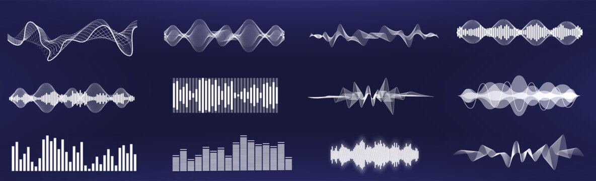 A set of custom sound waves. Frequency audio waveform, music wave in one color, easy to recolor. Tune equalizer vector set. Futuristic sound waves in HUD. Voice graph signal. Soundwaves rhythm. Vector