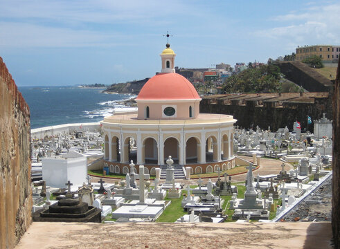overlooking old cemetery from old fort san juan puerto rico