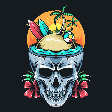 summer skull contains surf board, coconut tree, and ball