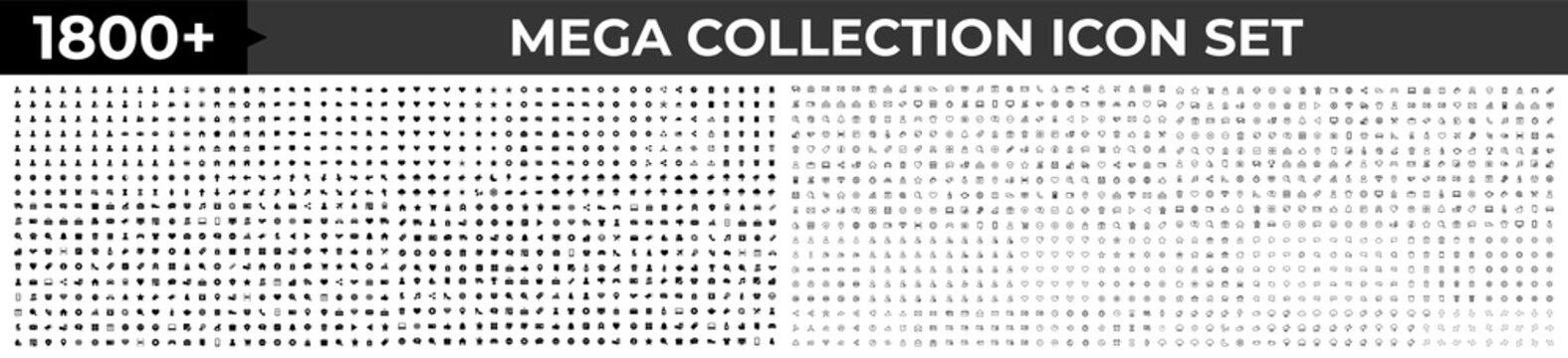 Big Huge set of 1800 icons in trendy line style. Mega collection icons concept of Business, e-commerce, finance, accounting. Big set Icons collection. Vector illustration