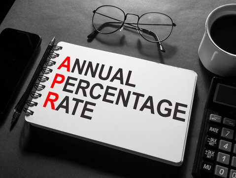 Annual percentage rate, text words typography written on book, life and business motivational inspirational