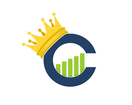 C Letter crown with chart growth up inside