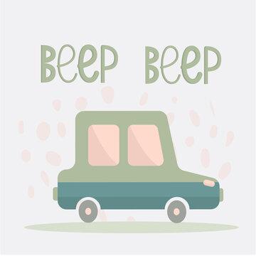 Green cute car children illustration text beep