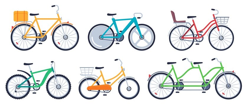 Bicycle of set color flat for adult and kids. Mountain bicycle, transport exercise, vector illustration