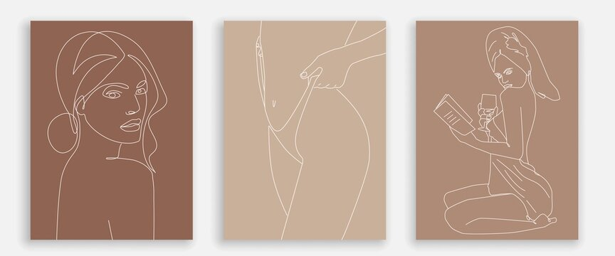 One Line Woman Body Prints Set. Creative Contemporary Abstract Line Drawing. Beauty Fashion Female Body. Vector Minimalist Design for Wall Art, Print, Card, Poster.