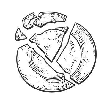 broken plate sketch engraving vector illustration. T-shirt apparel print design. Scratch board imitation. Black and white hand drawn image.