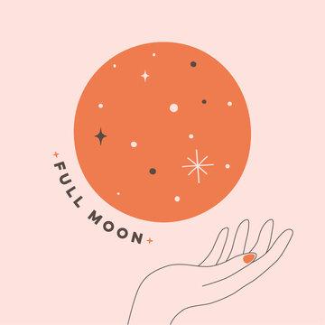 Illustration of full moon in vector illustrator