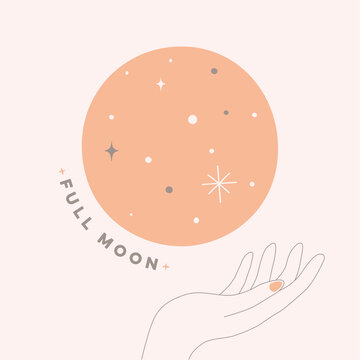 fine line Illustration full moon with hand in pastel color