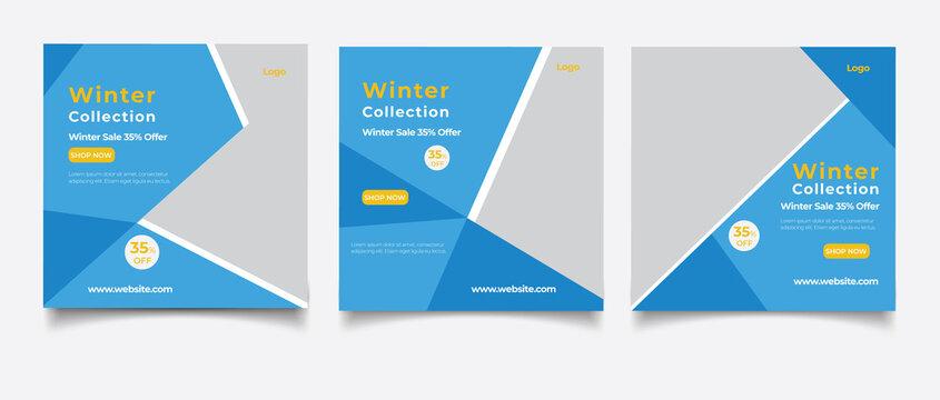 Winter sale social media post banner template
