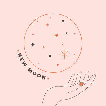 Illustration of new moon with hand vector design in pastel color