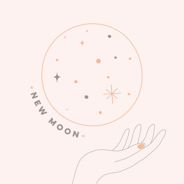 Illustration of new moon in soft color with hand