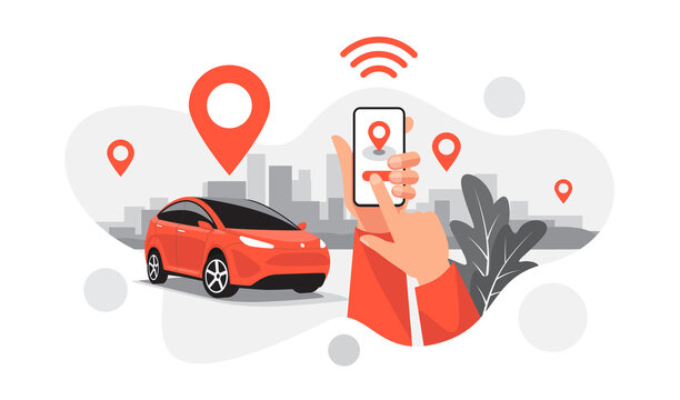 Isolated vector illustration of autonomous parking online ride car sharing service connected via smartphone app. Hands with phone location mark of smart share electric auto in modern city skyline.