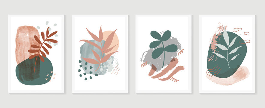 Botanical watercolor wall art vector set. Earth tone boho foliage line art drawing with  abstract shape.  Abstract Plant Art design for wall framed prints, canvas prints, poster, home decor.