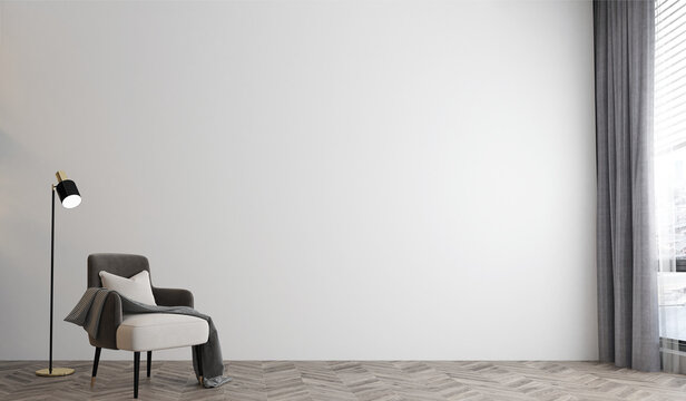 White room interior,minimal lounge and living room interior mock up, empty white wall, 3d rendering