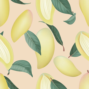 Fruit seamless pattern, pastel ripe Barracuda mangos with green leaves on brown