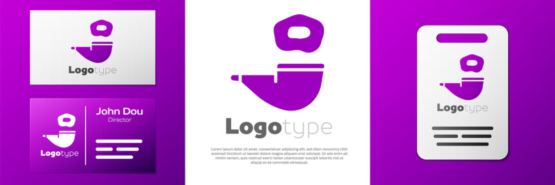 Logotype Smoking pipe with smoke icon isolated on white background. Tobacco pipe. Logo design template element. Vector.