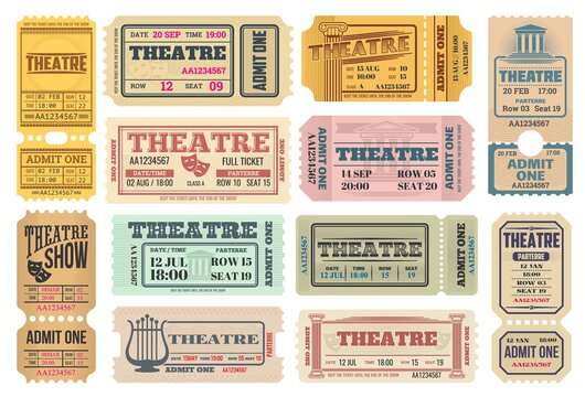 Theatre show, actors performance retro tickets set with comedy and tragedy masks, lira musical instrument and ancient greece columns vector. Theater admission pass, admit one with tear-off perforation