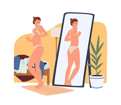 Young woman in underwear looking at extra pounds or kilos of her body in reflection of the mirror. Body rejection problem, self-hatred, dissatisfaction with appearance. Color flat vector illustration.
