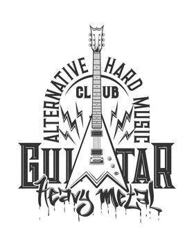 Tshirt print with electric guitar, vector emblem for heavy metal or rock music club or band apparel design. T shirt print with typography alternative hard music isolated label with amp and flashes