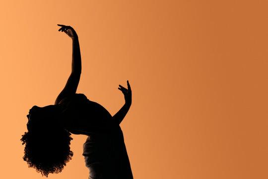 Afro Woman Dancing Silhouette