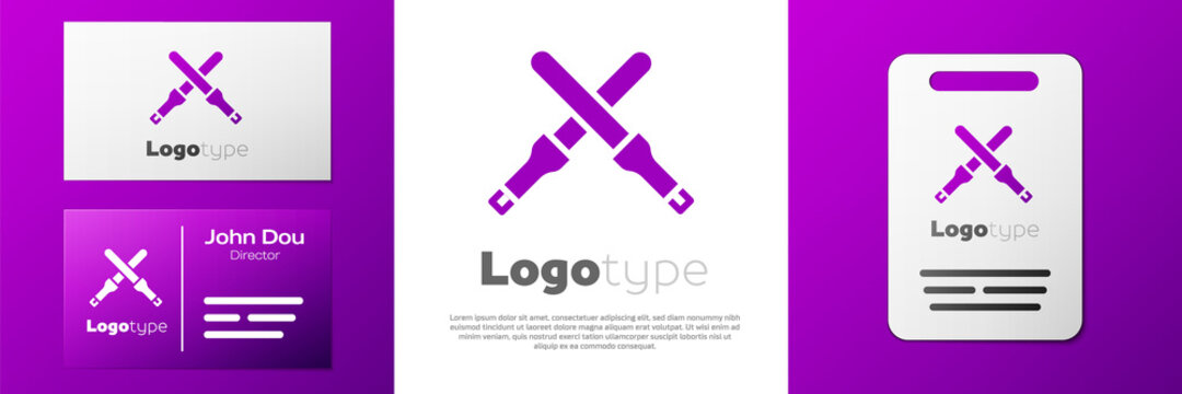 Logotype Marshalling wands for the aircraft icon isolated on white background. Marshaller communicated with pilot before and after flight. Logo design template element. Vector.