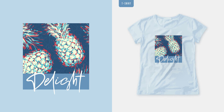 Summer graphic womens tee with pineapple, stylish print, vector illustration