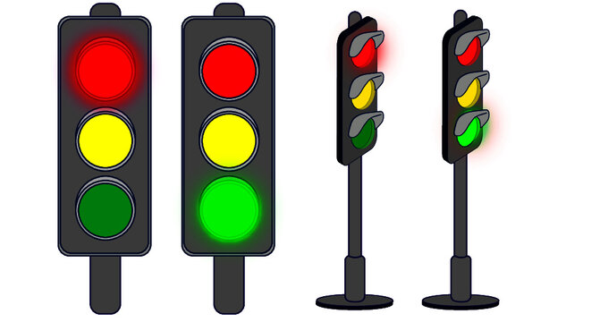 traffic lights isolated on white stop and go