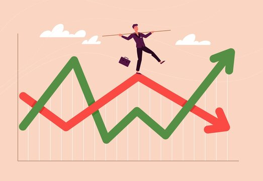 Financial investment volatility, up and down arrows profit graph due to Coronavirus crisis, businessman trying to balance like a tightrope walker so that volatility does not gobble up his investments