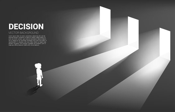 Silhouette of girl standing in front of 3 door with light. Concept of education solution and decision of future.