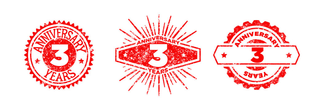 A group of 3 years anniversary logos drawn in the form of stamps, red frames for celebration. Grunge rubber stamp texture. Holiday stamps. Collection of postage stamps. Vector round stamps