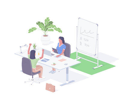 Hiring new employee isometric illustration. Female character head of company informs joyful woman candidate that been accepted.