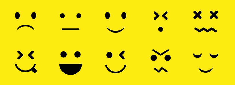 A set of 10 smilies. Flat vector illustration isolated on yellow.