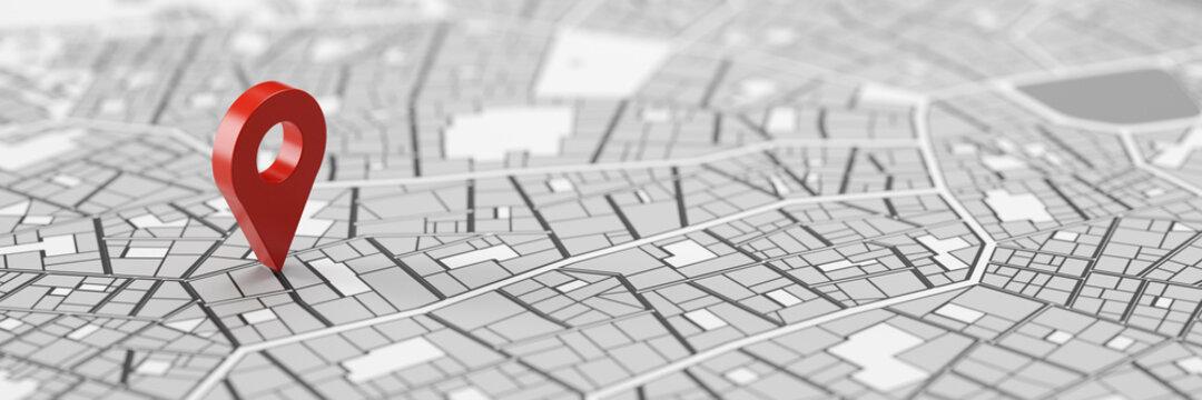 Rote GPS Standort Markierung auf Stadtplan