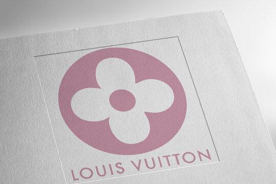 Louis Vuitton logo on textured paper