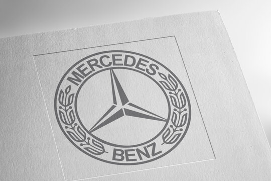Mercedes Benz logo on textured paper