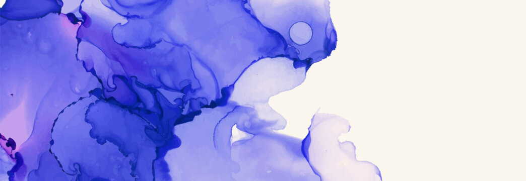 Alcohol ink vector texture banner. Fluid ink abstract background.