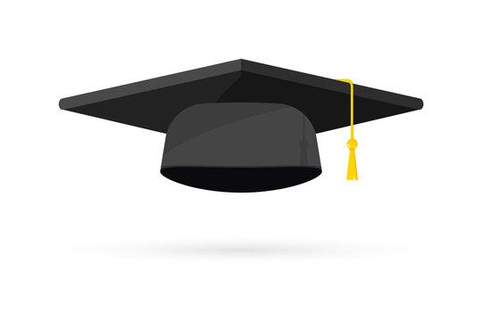 Graduation cap. Black hat of university graduate, Template Design Elements . Graduation Logo. Element for degree ceremony and educational programs. Graduation university or college