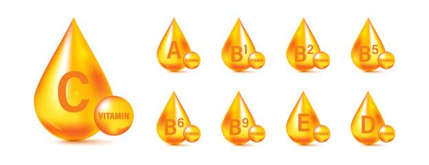 Fototapeta Set of Multi Vitamin complex icons. Multivitamin supplement. Vitamin A, B group B1, B2, B3, B5, B6, B9, B12, C, D, D3, E, K, H, K1, PP. Essential vitamin complex. Healthy life concept obraz