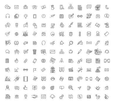 Big set Icons for business, digital marketing, mass media