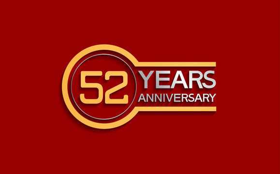 52 years anniversary golden and silver color with circle isolated on red background can be use for special moment, celebration, invitation and greeting card