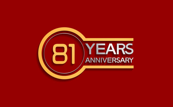 81 years anniversary golden and silver color with circle isolated on red background can be use for special moment, celebration, invitation and greeting card