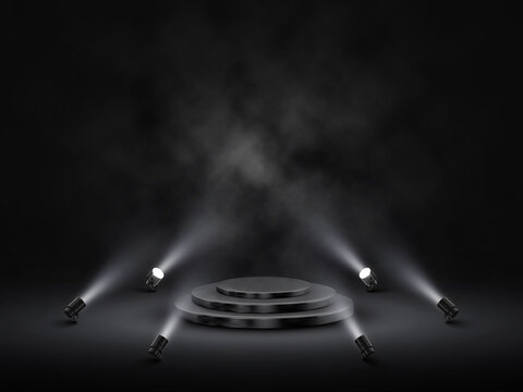 Podium with lighting. Stage, Podium, Scene for Award Ceremony with spotlights. Vector illustration