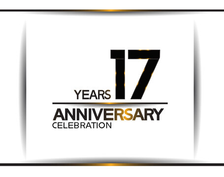 17 years anniversary black color simple design isolated on white background can be use for celebration, party, birthday and special moment