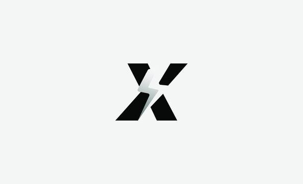 Letter X Bolt Logo Vector Design Icon Illustration